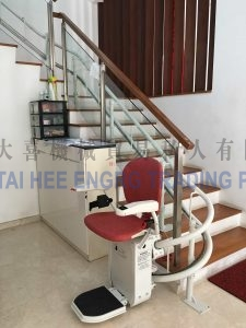 residential stair lift at bottom